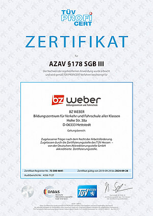 Träger Zertifikat BZ Weber